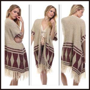 Boho Cardigan Sweater Fringe Festival Tribal OS